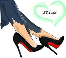 Cute Hand Drawn Legs In Black Court Shoes. Fashion Accessories. Sketch