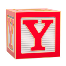 ABC Alphabet Wooden Block With Y Letter. 3D Rendering