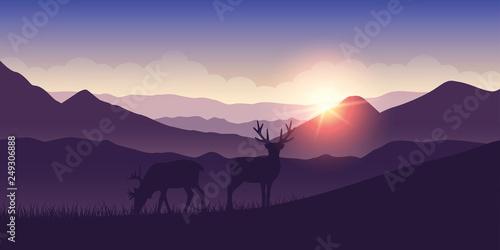 Foto op Plexiglas Purper two wildlife reindeers on purple mountain landscape at sunrise vector illustration EPS10