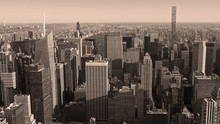 Black And White Aerial View Of Manhattan And Central Park New York City