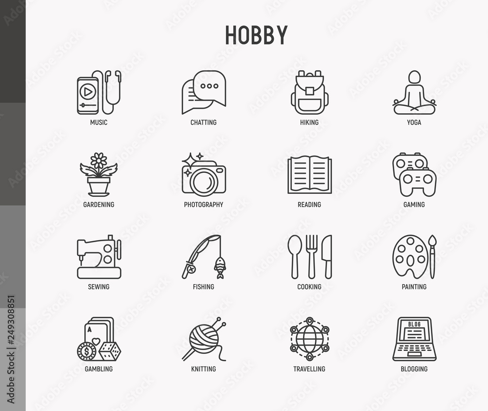 Fototapety, obrazy: Hobby thin line icons set: reading, gaming, gardening, photography, cooking, sewing, fishing, hiking, yoga, music, travelling, blogging, knitting. Modern vector illustration.