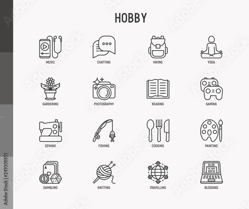 Hobby thin line icons set: reading, gaming, gardening, photography, cooking, sewing, fishing, hiking, yoga, music, travelling, blogging, knitting Canvas Print