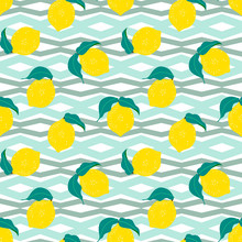 Summer Pattern With Lemons And...