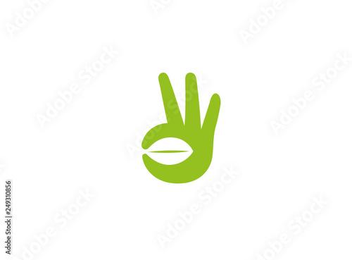 Creative Hand Sign Leaf Symbol Logo