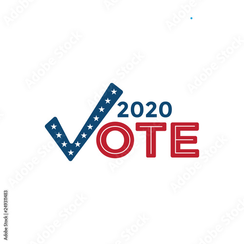 Voting 2020 Icon with Vote, Government, & Patriotic Symbolism and Colors Canvas-taulu