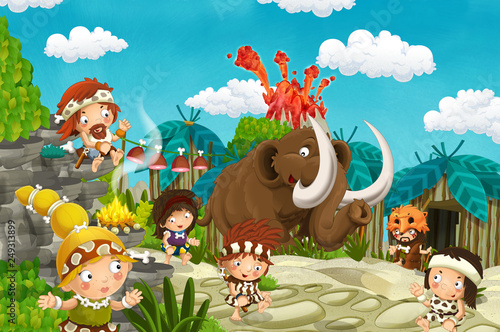 Poster de jardin Zoo cartoon cavemen village scene with mammoth and volcano in the background - illustration for children