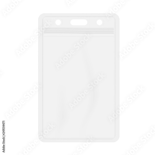 Photo  Clear plastic card holder with zip lock isolated on white background, realistic vector mockup
