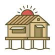 Bungalow house villa home cottage icon