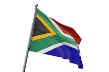 South Africa Flag Waving Isolated White Background 3D Illustration