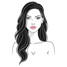 Vector Illustration Of A Beautiful Young Nude Woman With Long Hair