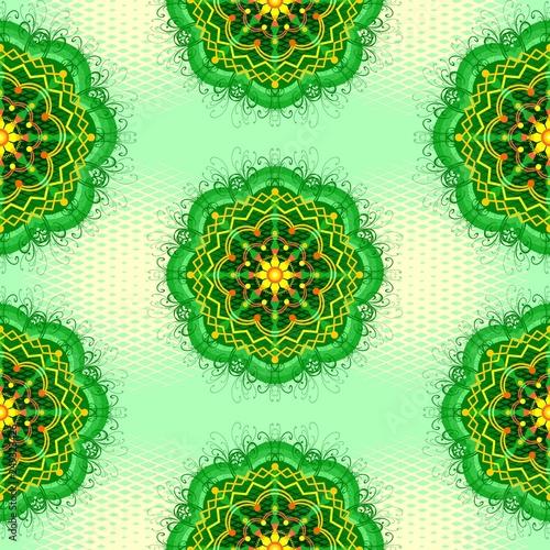 Tuinposter Draw Mandala Zen Greenery Seamless Pattern Design Vector Art