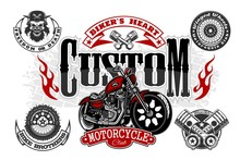 Vintage Custom Motorcycle Label. Original Quality Design On White.