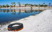 Old Tire On The Coast Of The Salton Sea