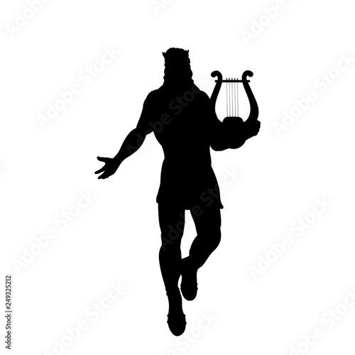 Vászonkép God Apollon lyre silhouette ancient mythology fantasy