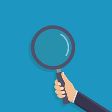 Business Hand Holding A Magnifying Glass, Flat Design Vector Illustration