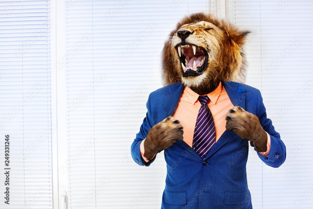 Fototapeta Predator angry boss concept man with lion head