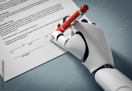 Tela 3D Illustration Roboter unterschreibt einen Vertrag mit roten Kugelschreiber