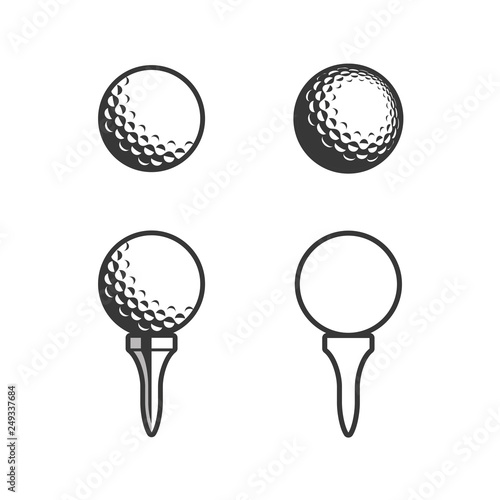Fotografiet Golf Tee and ball Icon