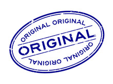 Grunge Blue Original Word Oval Rubber Seal Stamp On White Background