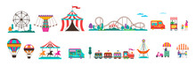 Amusement Park With Carousels,...