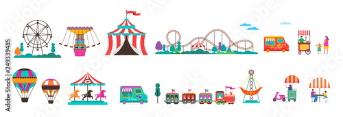 Photo Amusement park with carousels, air balloons and roller coaster