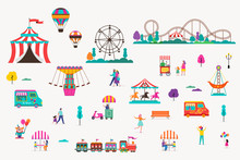 Amusement Park With Carousels, Air Balloons And Roller Coaster. Circus, Fun Fair And Carnival Icon Set