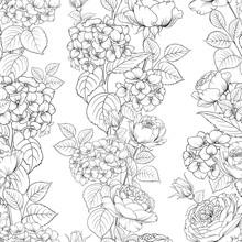 Seamless Pattern Of Rose Flowe...