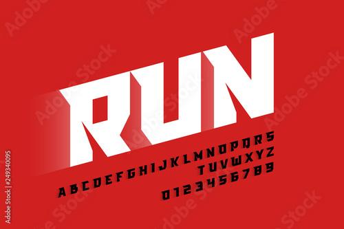 Fototapeta Sport style modern font, alphabet letters and numbers obraz