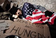 Homeless Man Sleeping Outsie U...