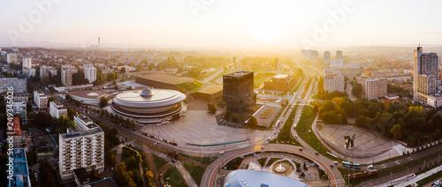 Fotografia  Beautiful sunrise over city center of Katowice