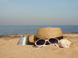 travel content : summer holiday props on the beach sand