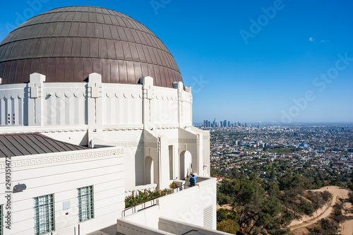 Overlooking the city of Los Angeles from  griffith park observatory Wallpaper Mural