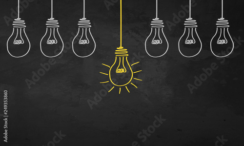 Chalkboard Light Bulbs Canvas-taulu
