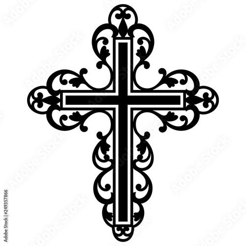 Leinwand Poster Filigree Cross, Catholic Cross, Christian Cross