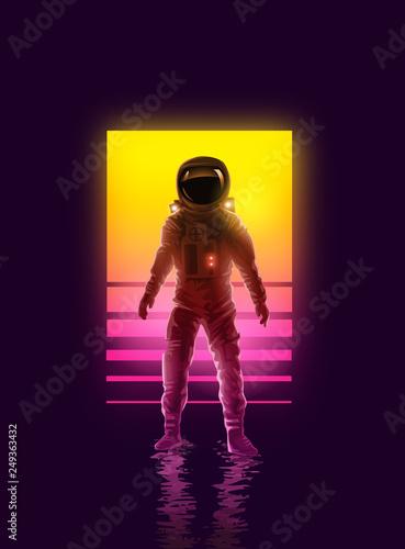 Fotomural Neon Astronaut Spaceman Background Design