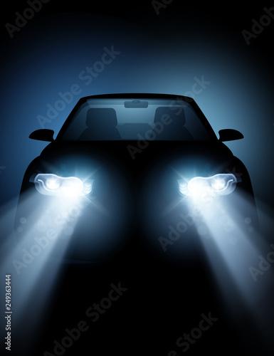 Obraz Modern Car with bright LED Headlights - fototapety do salonu