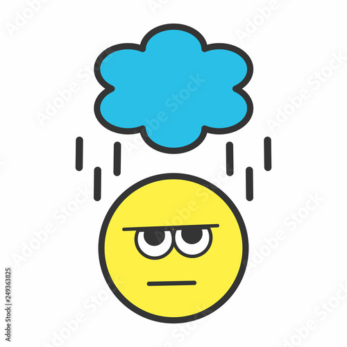 Yellow Angry Smiley Face With Rainy Cloud Buy This Stock Vector