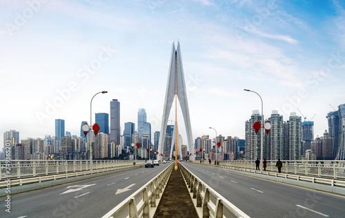 Staande foto Canada Expressway on Yangtze River Bridge and Modern City Scenery in Chongqing, China