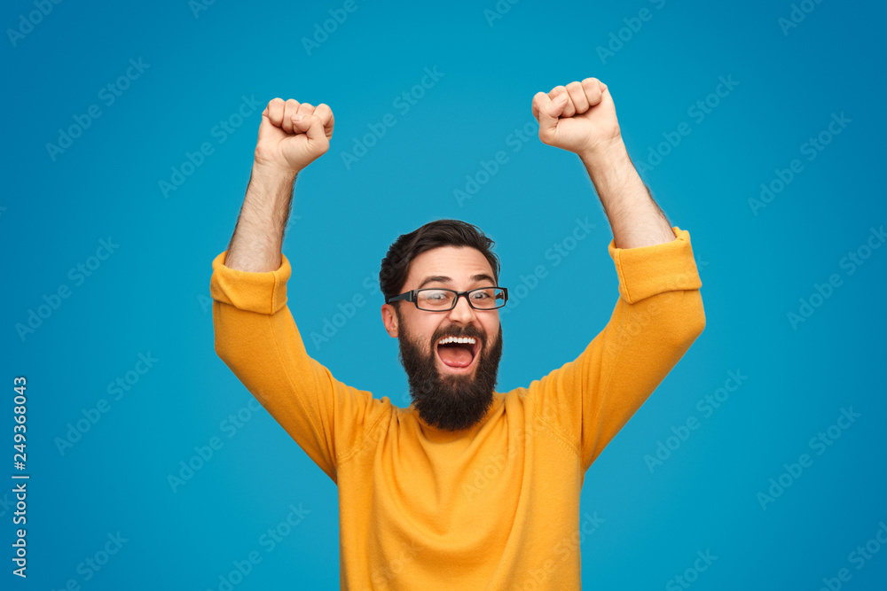 Fototapeta Funny man celebrating victory