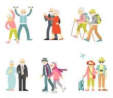 Set Of Senior Man And Woman Characters In Flat Style Isolated On White Background.