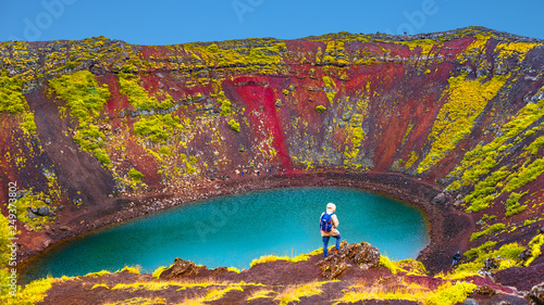 Tablou Canvas Famous colorful and dangerous Kerid volcanic crater with lake inside on Iceland