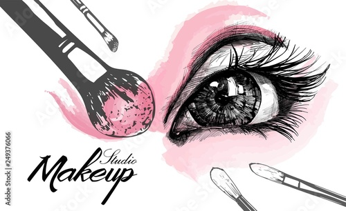 Obraz Vector hand drawn illustration of colorful women eye and makeup brushes. Concept for beauty salon, cosmetics label, cosmetology procedures, visage and makeup. - fototapety do salonu