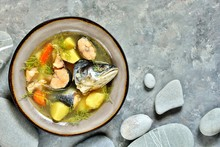 Salmon Fish Soup With Fish Hea...