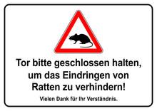 Ks440 Kombi-Schild - German Text - Tor Bitte Geschlossen Halten, Um Das Eindringen Von Ratten Zu Verhindern! - Vorlage / Zeichen / Schild - DIN A2, A3, A4 Poster - (rats) Xxl G7217