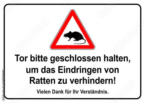 Fotografija  ks440 Kombi-Schild - german text - Tor bitte geschlossen halten, um das Eindring