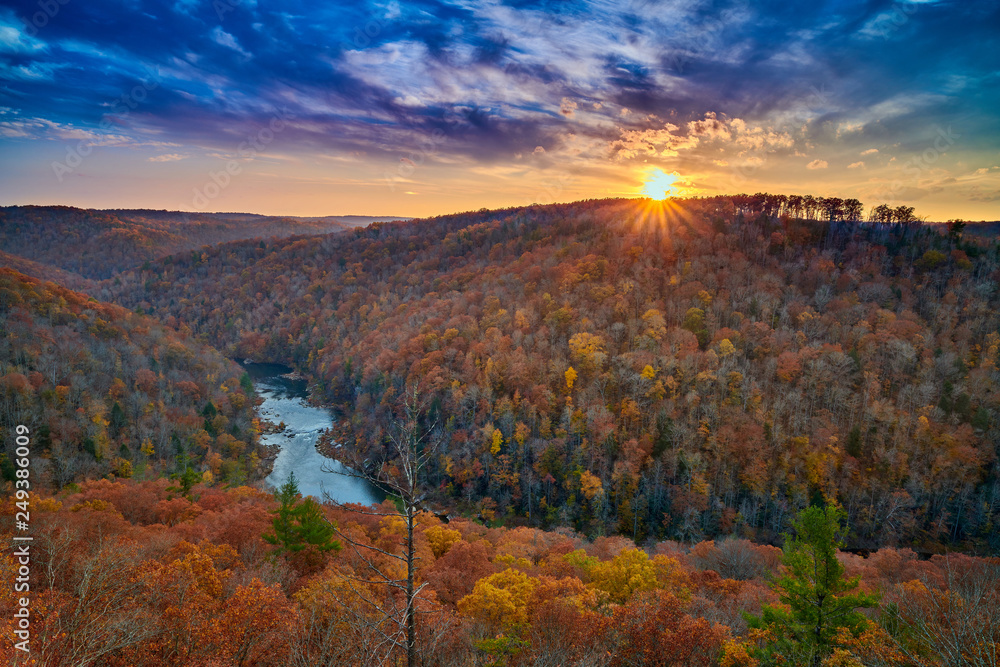Fototapety, obrazy: East Rim Overlook - Big South Fork National River and Recreation Area, TN