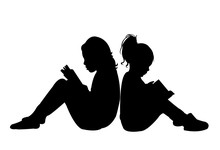 Sisters Reading Book, Silhouet...