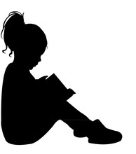 Girl Reading Book, Silhouette ...