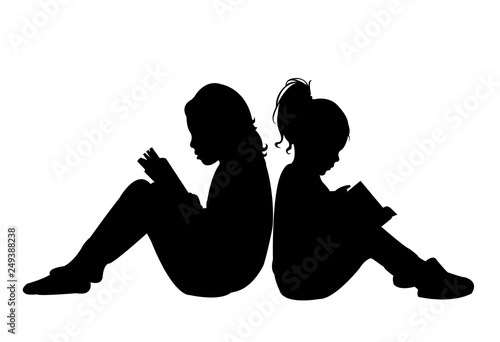 sisters reading book, silhouette vector Canvas-taulu