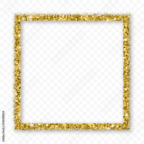 Valokuva Gold Glitter Frame With Bland Shadows Isolated On Transparent  Background